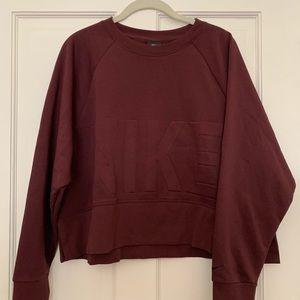 Nike maroon colored sweatshirt, crop style